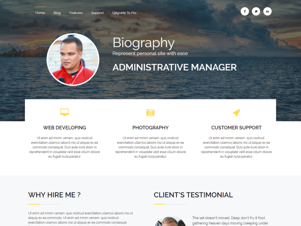Biography WordPress theme