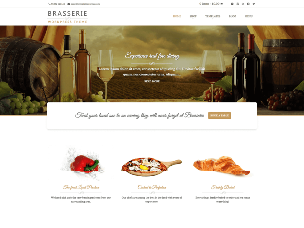 Brasserie WordPress Theme