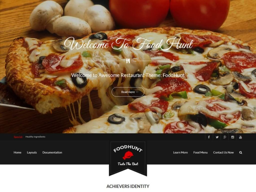 FoodHunt Best Free WordPress Themes for food blogs