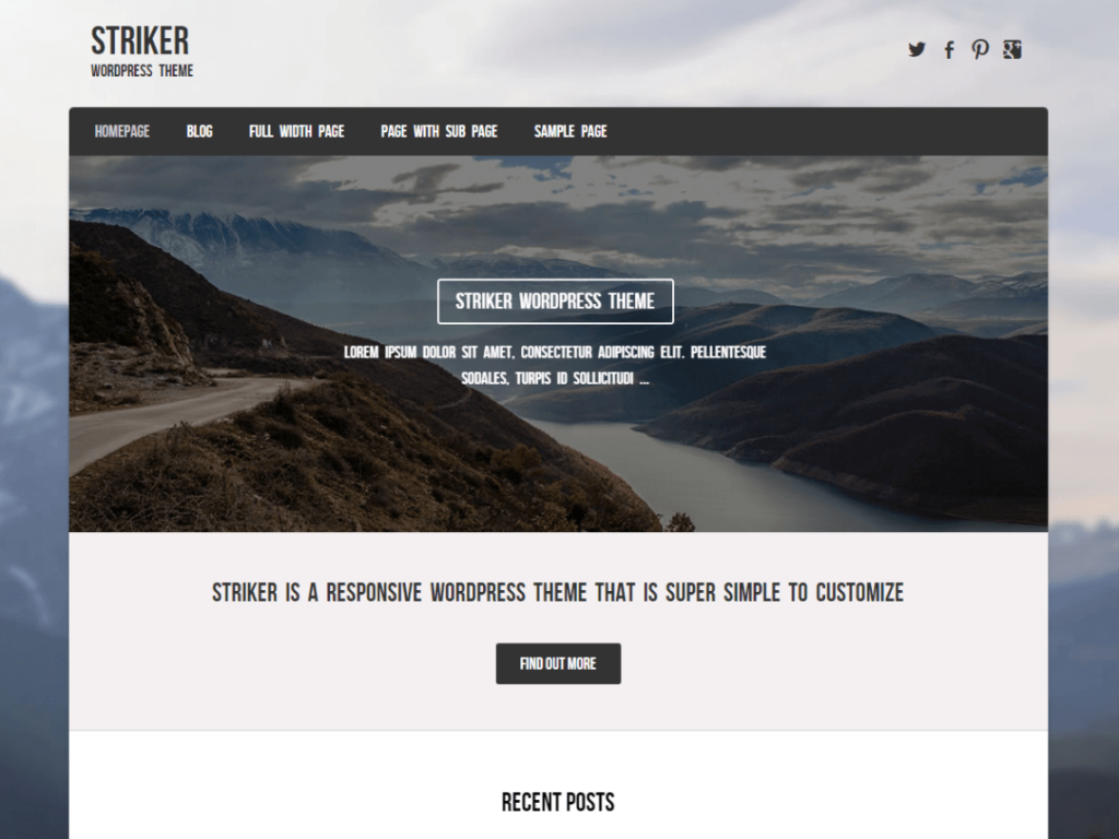 Striker WordPRess starter theme