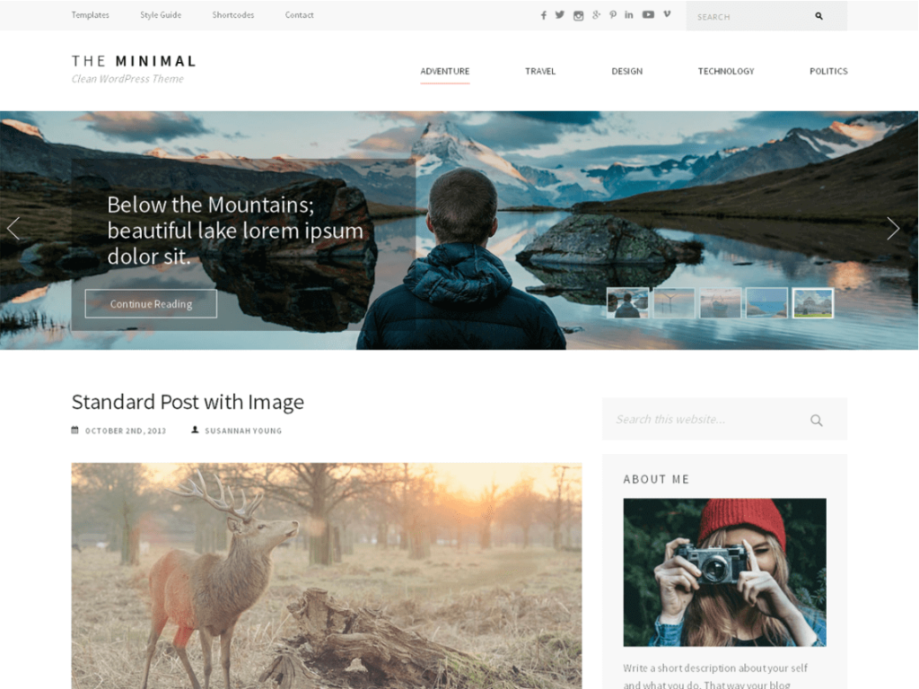 The Minimal WordPress theme